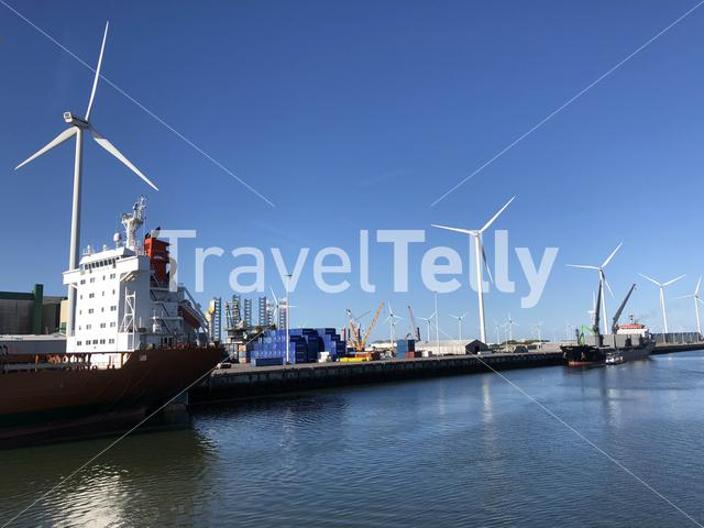 Cargo ships in the Eemshaven, Groningen The Netherlands