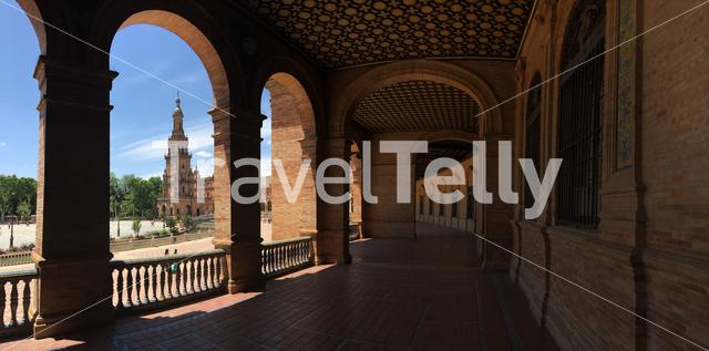 Panorama from the balcony at Plaza de España in Seville Spain