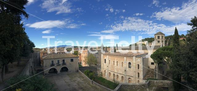 Panorama from Sant Pere de Galligants Monastery in Girona, Spain