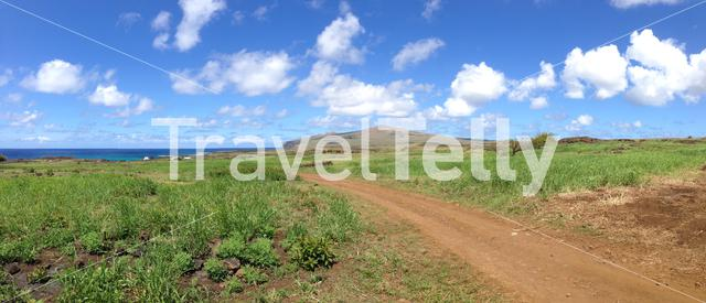 Panorama landscape from the Easter Island with a dirt road