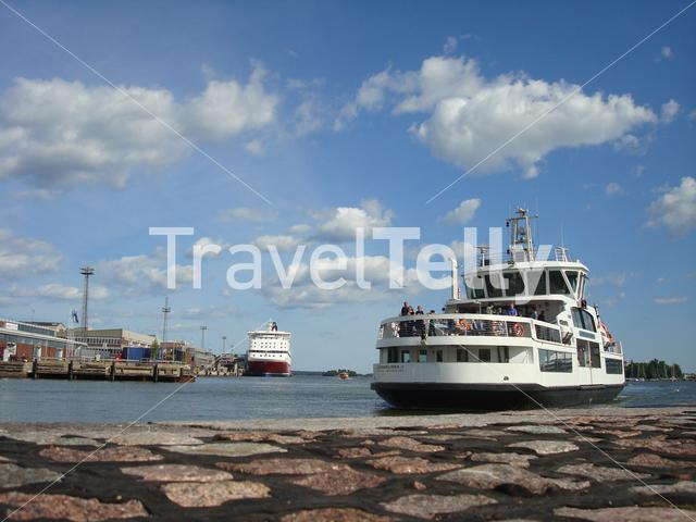 Ferry arriving in the harbour of Helsinki