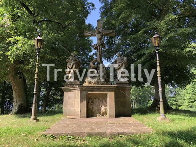 Christian statue around the Altenburg Castle in Bamberg Germany