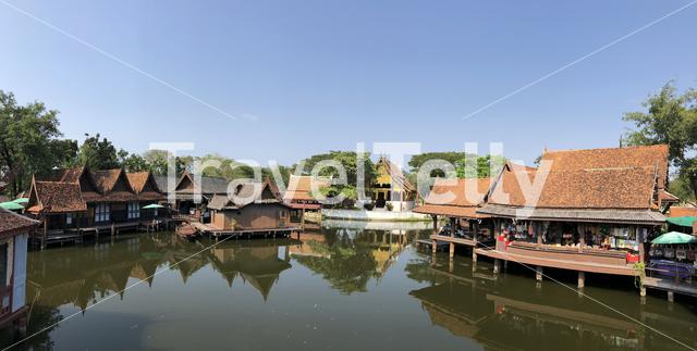 Panorama from the floating market in the Ancient Siam, Thailand