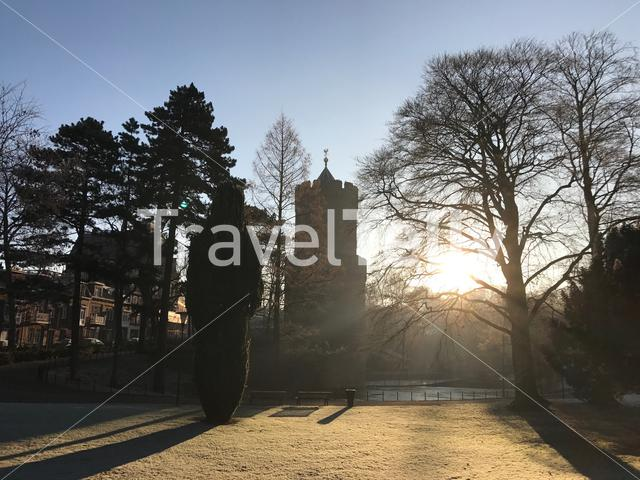 Kruittoren with morning sunshine at the Kronenburgerpark in Nijmegen The Netherlands