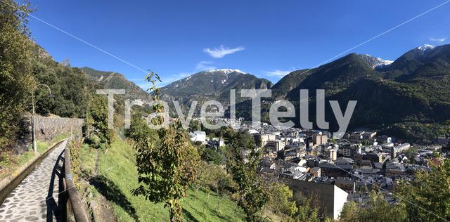 Panorama from a path on the mountains around Andorra la Vella