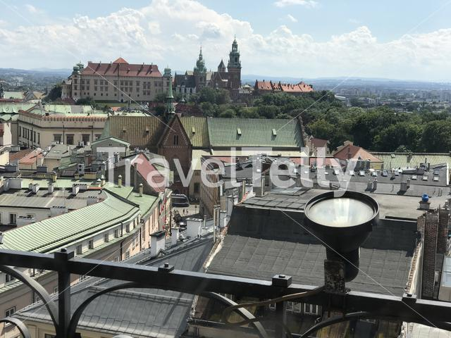 Wawel Royal Castle seen from the Town Hall Tower in Krakow Poland