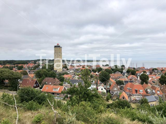 Town West-Terschelling with the lighthouse Brandaris in The Netherlands