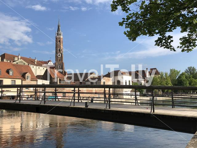 Bridge over the Isar river in Landshut Germany