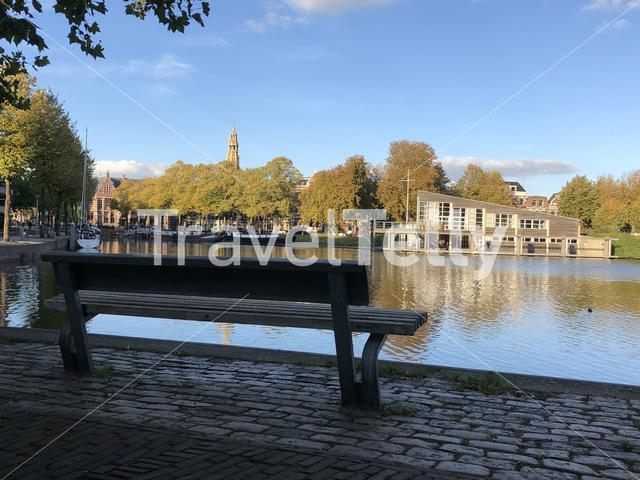 Bench next to the canal in Groningen The Netherlands