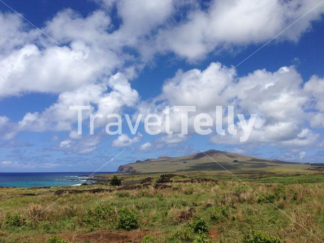 Landscape view from Easter Island, Rapa Nui