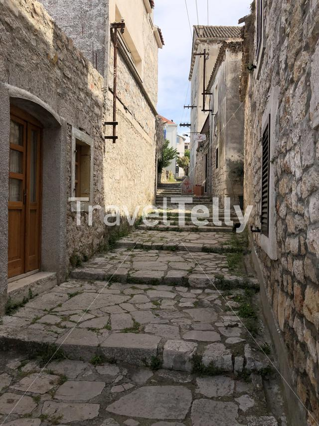 Alley in the old town of Zlarin in Croatia