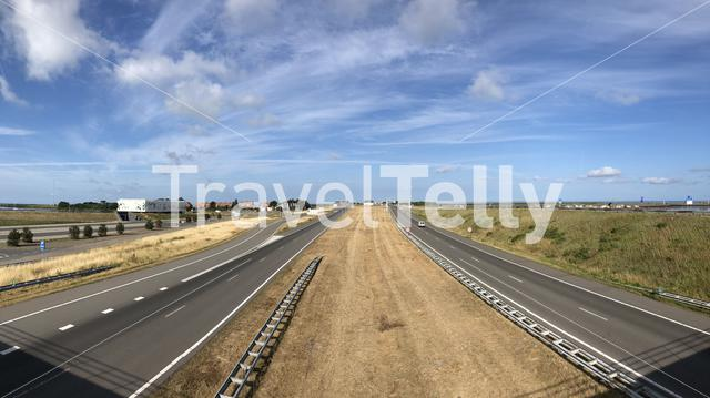 Panorama from The Afsluitdijk (Enclosure Dam) at Kornwerderzand, Friesland The Netherlands