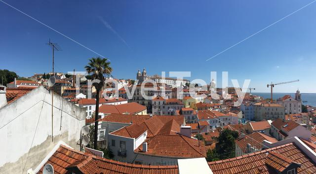 Lisbon city view panorama Miradouro das Portas do Sol (Observation deck) in Portugal