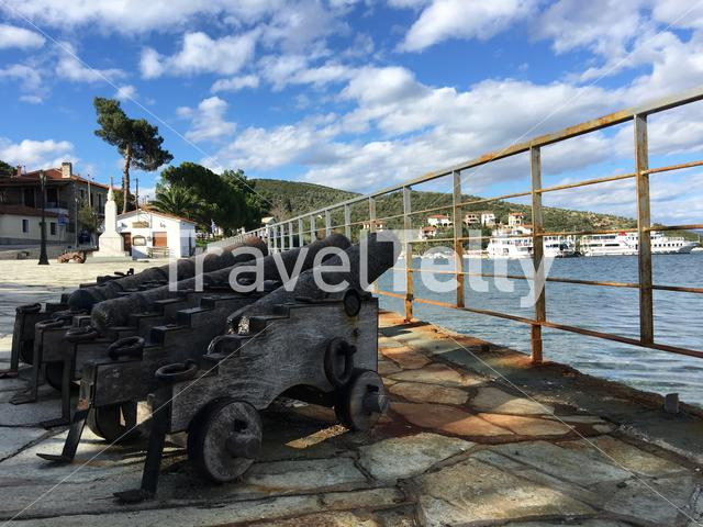 Canon in the harbour of Amaliapoli in Greece