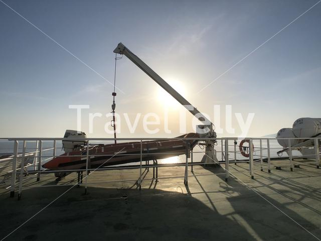 Lifeboat on a ferry in Croatia