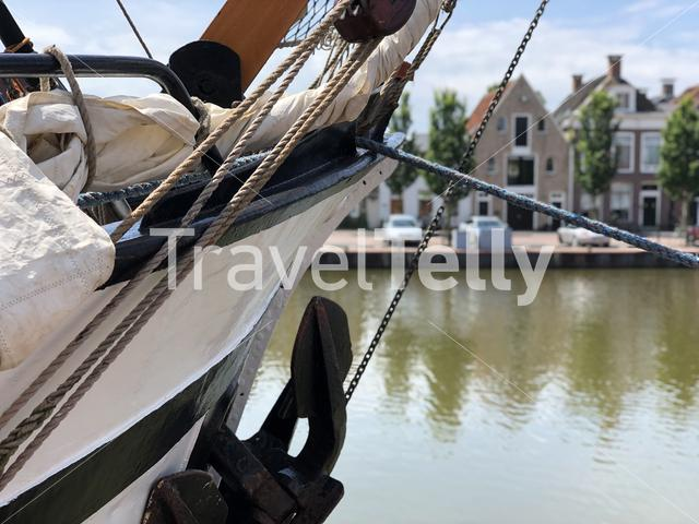 Bow of a sailboat in the Zuiderhaven in Harlingen, Friesland The Netherlands