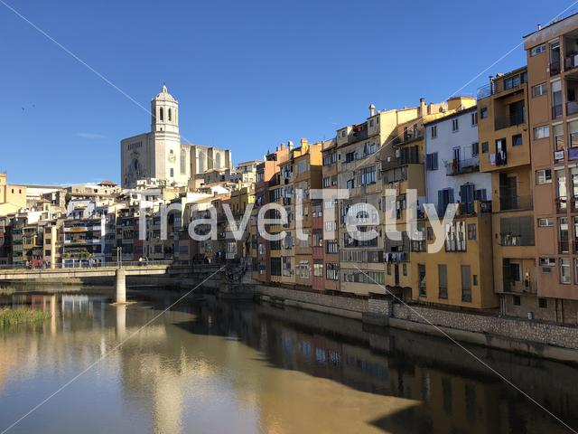 The Onyar river and the Girona Cathedral in Girona, Spain