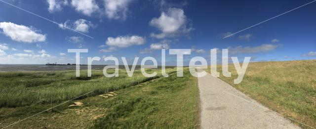 Panorama landscape on Schiermonnikoog in Friesland, The Netherlands