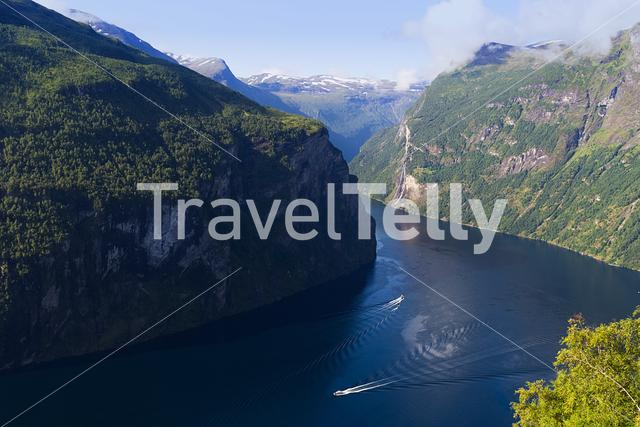 The Geirangerfjord from the Ørnesvingen view point in Norway.