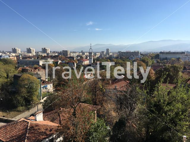View over the old town from the Roman theatre of Plovdiv Bulgaria