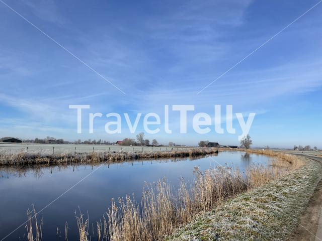Canal around Aldeboarn during a winter day in Friesland The Netherlands