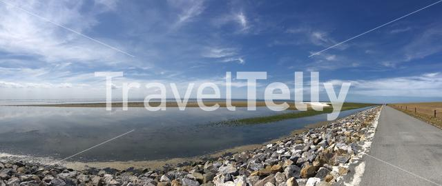 Panoramic landscape from Ameland island in Friesland The Netherlands