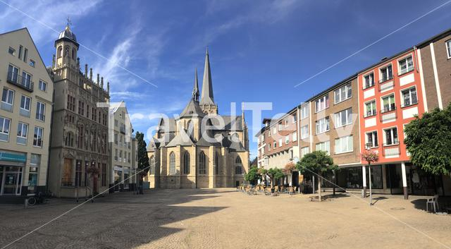 Panorama from the big market square with the Willibrordi cathedral in Wesel, Germany
