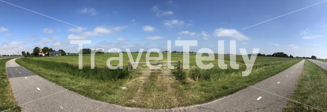 Panoramic countryside landscape around Tzum, Friesland The Netherlands