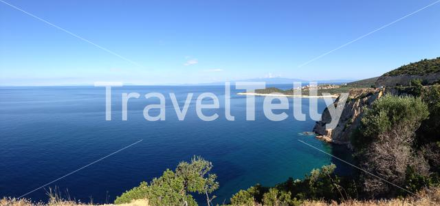 Panorama from the coast of Thassos island landscape in Greece