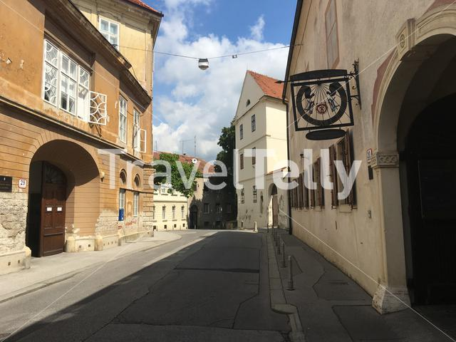 Street in the old town of Zagreb Croatia