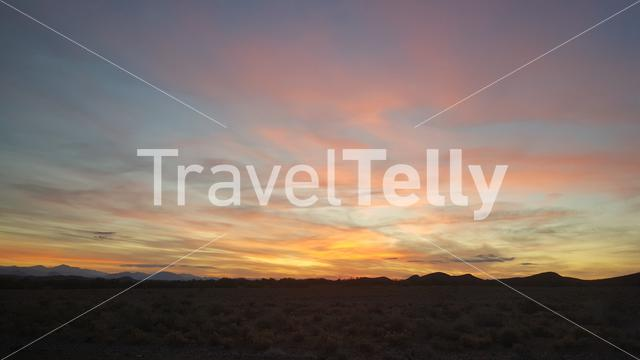 Sunset around Prince Albert a town at the foot of the Swartberg Mountains in South Africa