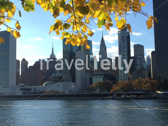 Manhattan seen from Roosevelt Island during autumn in New York City