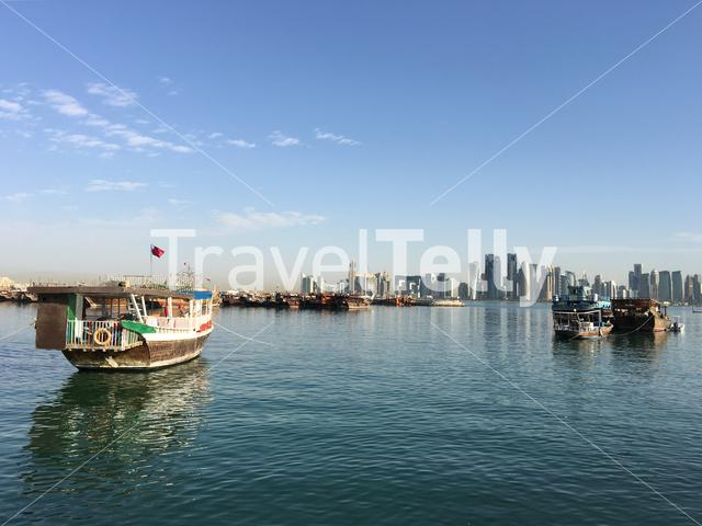 Traditional Dhow, Arab sailing vessel in the Dhow Harbour in Doha Qatar