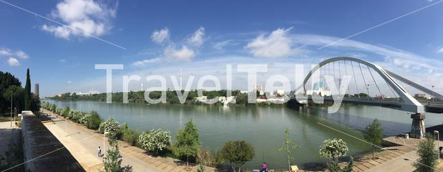 Panorama from the Puente de la Barqueta officially named Puente Mapfre a bridge over the Canal de Alfonso XIII in Seville Spain