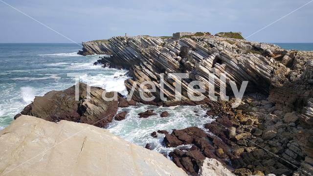 Rocky coast of Baleal in Portugal
