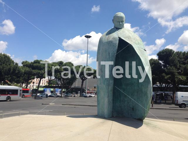 Monumento a Papa Giovanni Paolo II in front of the central station in Rome Italy
