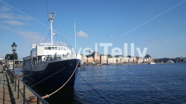 Ship with Gamla stan in the background in Stockholm Sweden