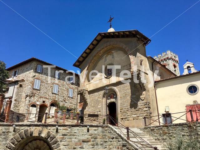 The church of Radda in Chianti (Tuscany, Italy) on a clear spring afternoon.