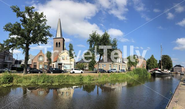 Panorama from a canal in Heerenveen, Friesland The Netherlands