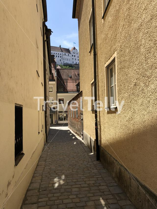Alley in the old town of Landshut Germany