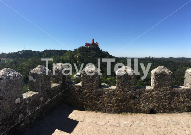Lookout at the Pena Palace seen from Castelo dos Mouros in Sintra Portugal