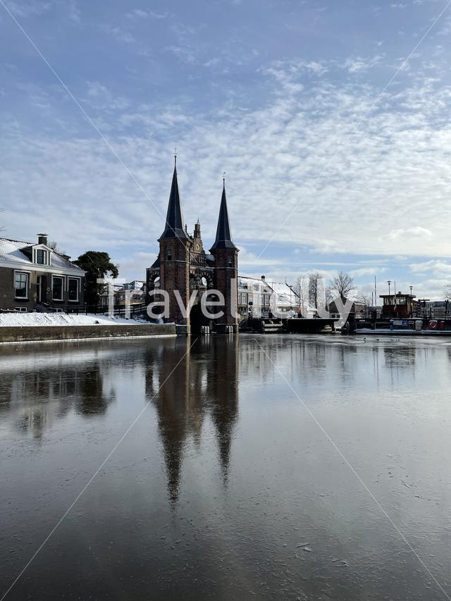 The waterpoort during winter in Sneek , Friesland The Netherlands