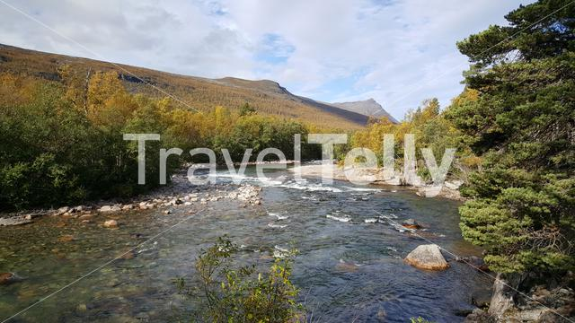 River during autumn at Ovre Dividal National Park Norway
