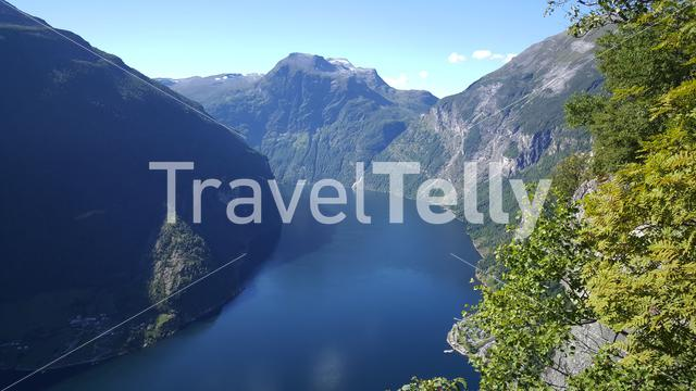 The Geiranger Fjord landscape in Norway