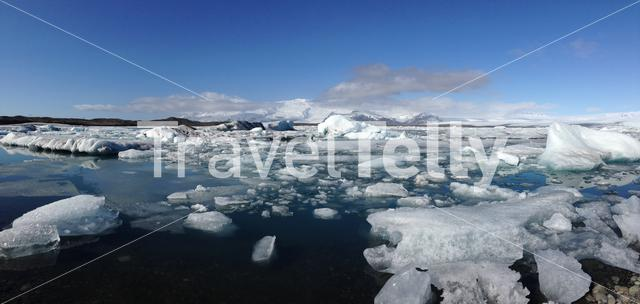 Jökulsárlón Glacier lagoon southeast Iceland with big pieces of ice in the morning Panorama