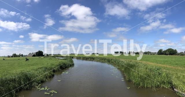 Panorama from Friesian landscape in The Netherlands