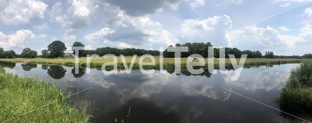 Panorama from the Beneden Regge river in Overijssel, The Netherlands