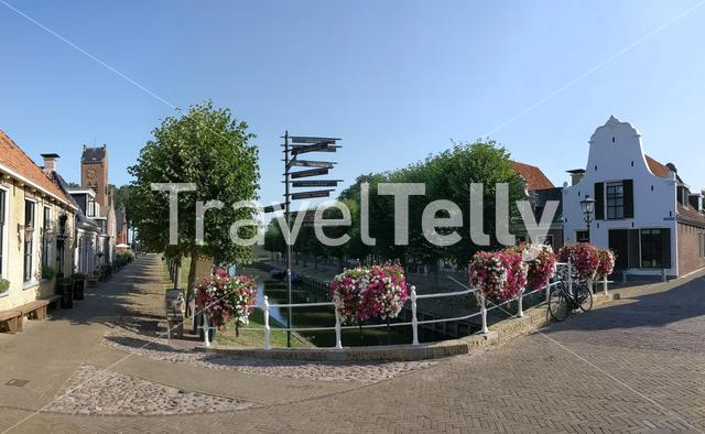 Panorama a bridge over a canal in Sloten, Friesland The Netherlands