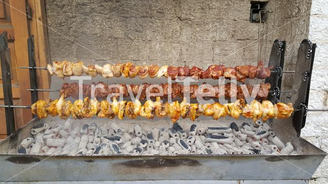 Meat at a spit in Monodendri Greece