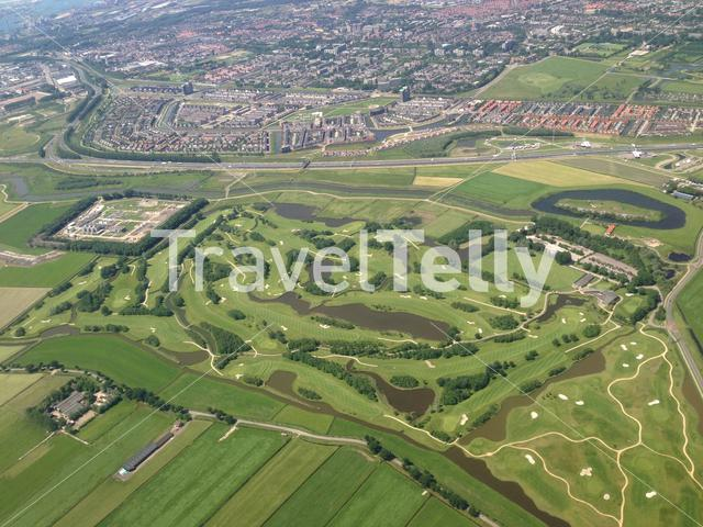 Flying above The Netherlands towards Schiphol airport